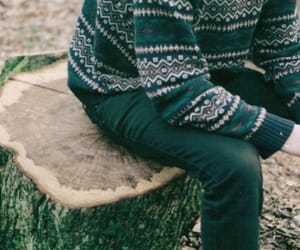 boy, sweater, and tree image