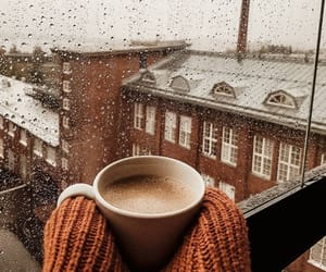 coffee, rain, and winter image
