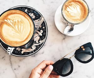 coffee, sunglasses, and food image
