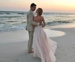 husband, strand, and wedding image