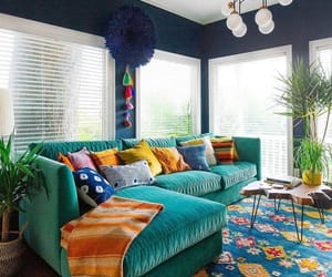 living room, bohemian, and colourful image