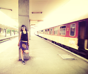 girl, train station, and station image