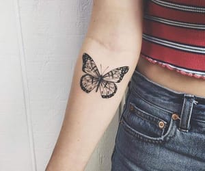 tattoo, butterfly, and girl image