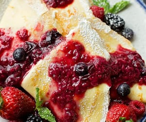 cream, berries, and blender image