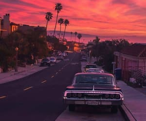 car, red, and sunset image