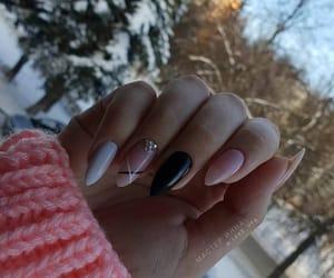 black, girly, and nails image