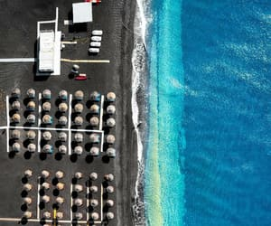 aerial photography, beach, and perissa image