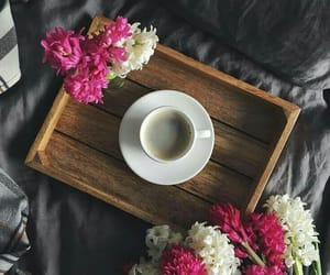 bed, coffee, and flowers image