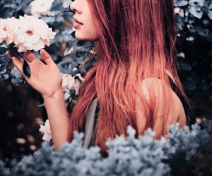 aesthetics, woman, and flowers image