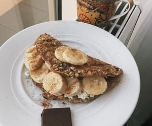 breakfast, nutella, and crepes image