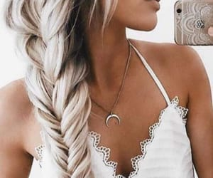blonde, fishtail, and hair image