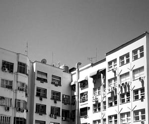 black and white, buildings, and happy image
