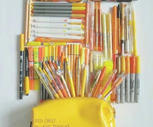 pen, pencils, and yellow image