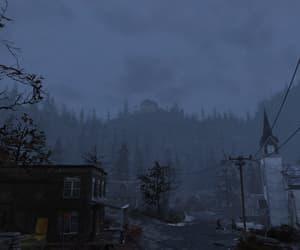 eerie, gloomy, and mountains image