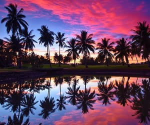 beach, fiji, and reflection image