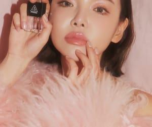 fur coat, makeup, and pink image