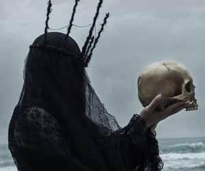 black, dark, and skull image