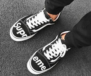 black and white, vans, and old skool image