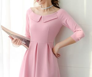 cute dress, skater dress, and long sleeve dress image