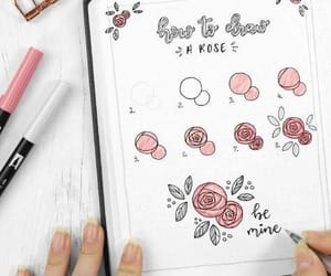 rose, notes, and school image