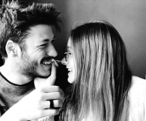 black and white, happy, and love couple image