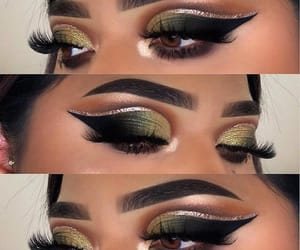 eyeshadow, glam, and olive green image