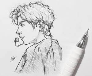 art, black and white, and idol image