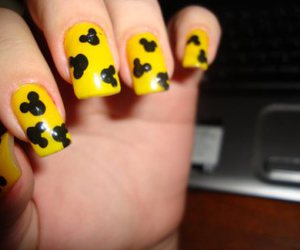 black and yellow, disney, and manicure image