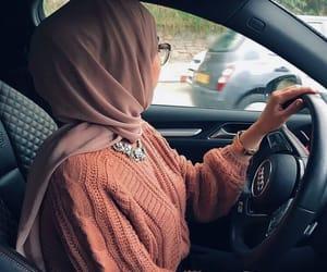 hijab, car, and حجاب image