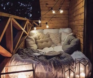 bed, lights, and night image