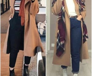 tan coats with scarves image