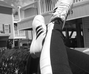 adidas, black and white, and jeans image