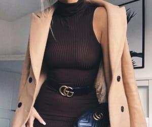 brown dress, designer, and fashionable image