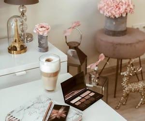 agenda, coffee, and flowers image