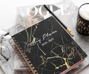 agenda, coffee, and marble image