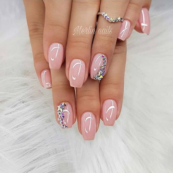 Cute, Light Pink Gel Nails with Stars on We Heart It