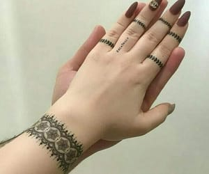 henna tattoo, tattoo, and nail art image