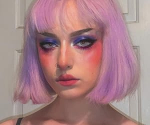 colored hair, makeup, and purple image