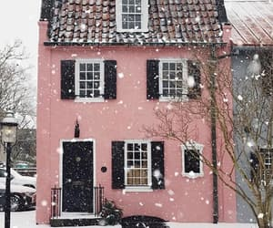 house, pink, and winter image