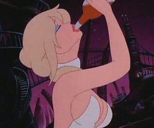 blonde, cartoon, and drinking image