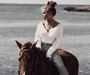 beach, fashion, and horse image