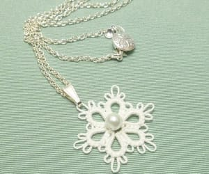 bridal jewelry, white lace, and tatted lace image