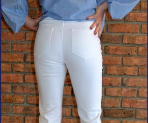 white jeans and flare jeans image