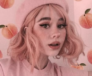 peach, pink, and girl image