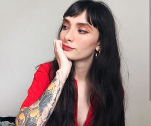brunette, tattoo, and bangs image