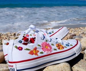 all star, flowers, and sneakers image