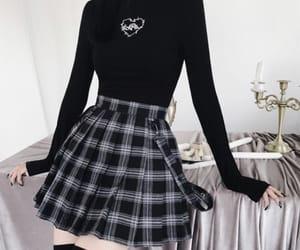 black top, fashion, and knee high socks image