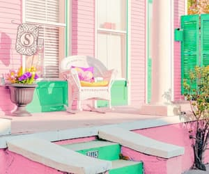 house, pink and green, and porch image