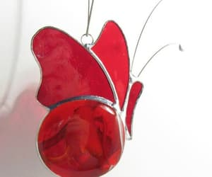 etsy, stainedglass, and red butterfly image