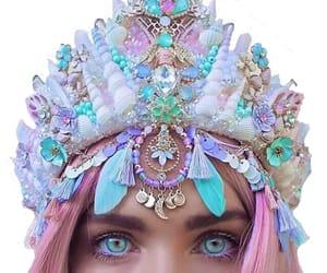 mermaid, crown, and pastel image